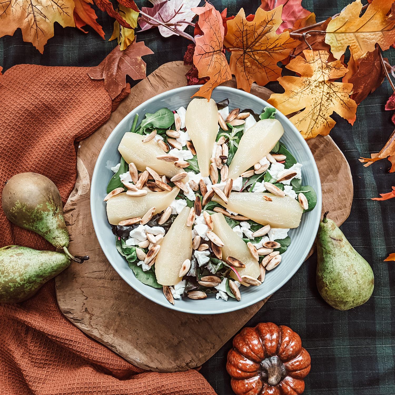 oktoberdots recept salade peer geitenkaas amandelen