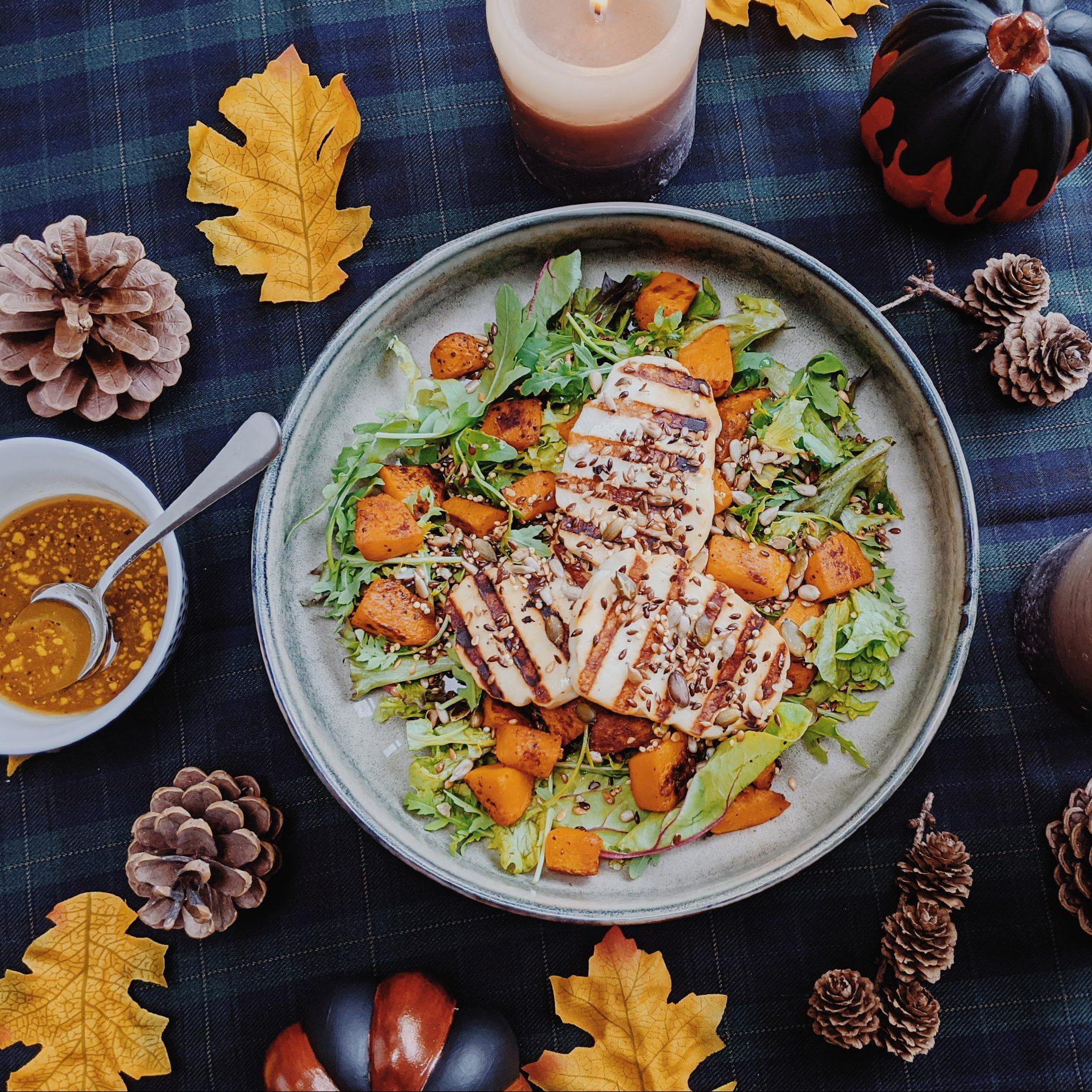 Salade met pompoen & Halloumi