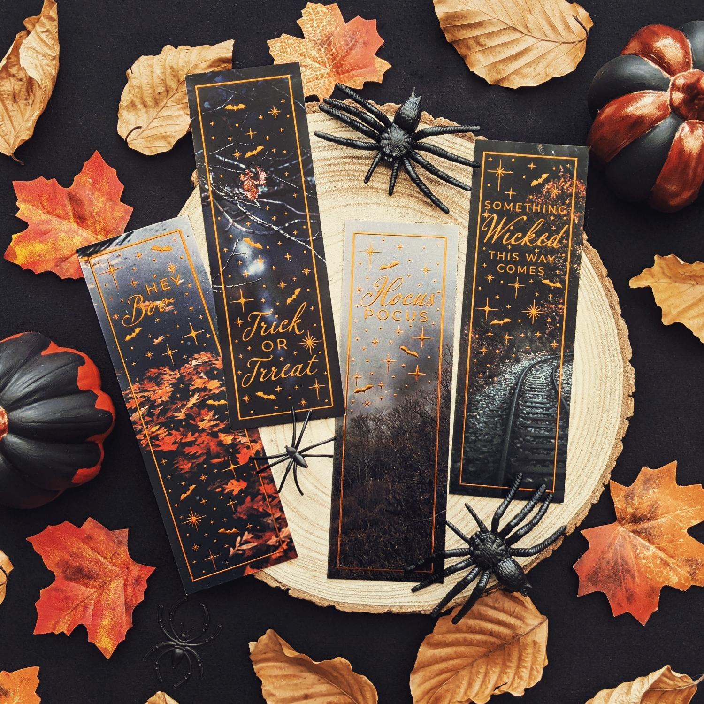 Oktoberdots halloween boekenleggers quotes brons