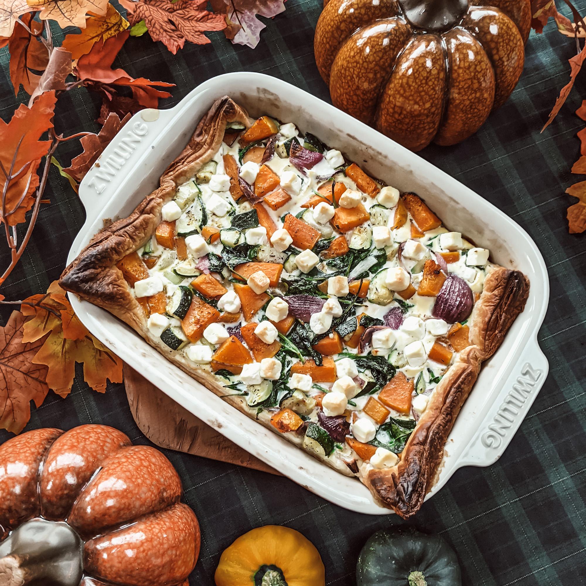 Oktoberdots pompoen spinazie feta ovenschotel