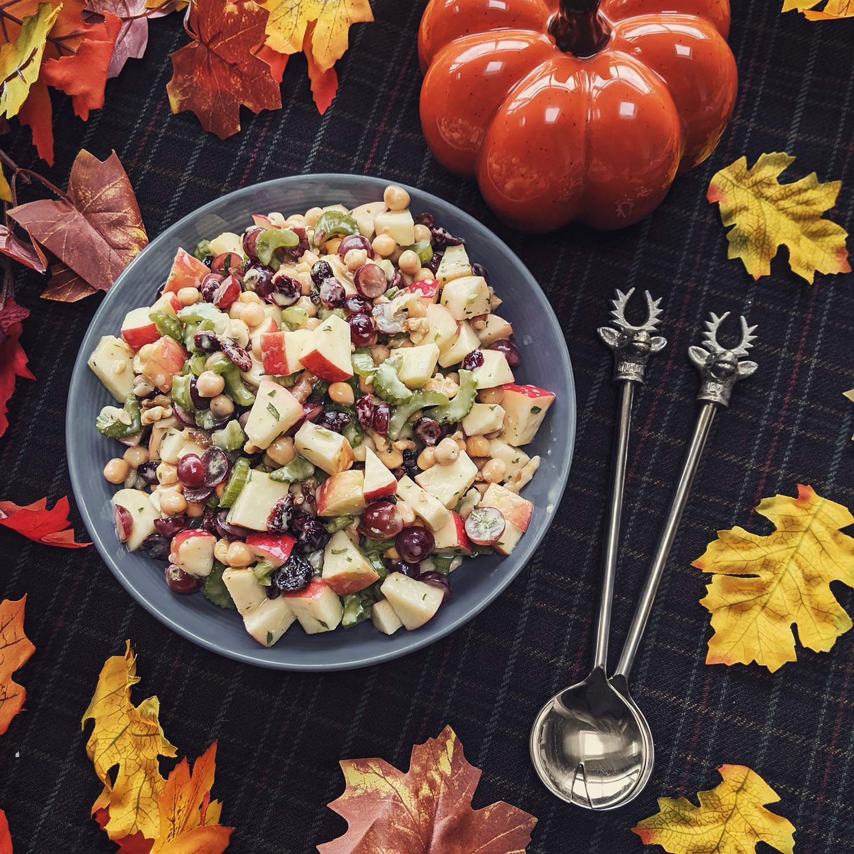 Oktoberdots vegan Waldorf salade met kikkererwten