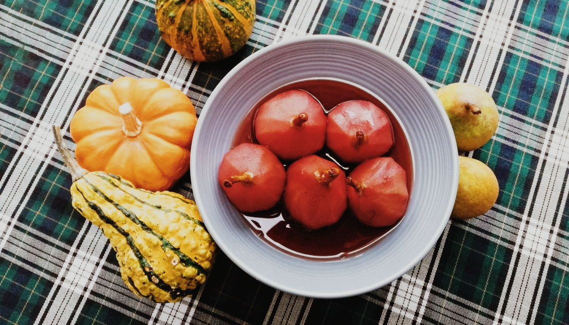 Traditional red wine stewed pears Oktoberdots