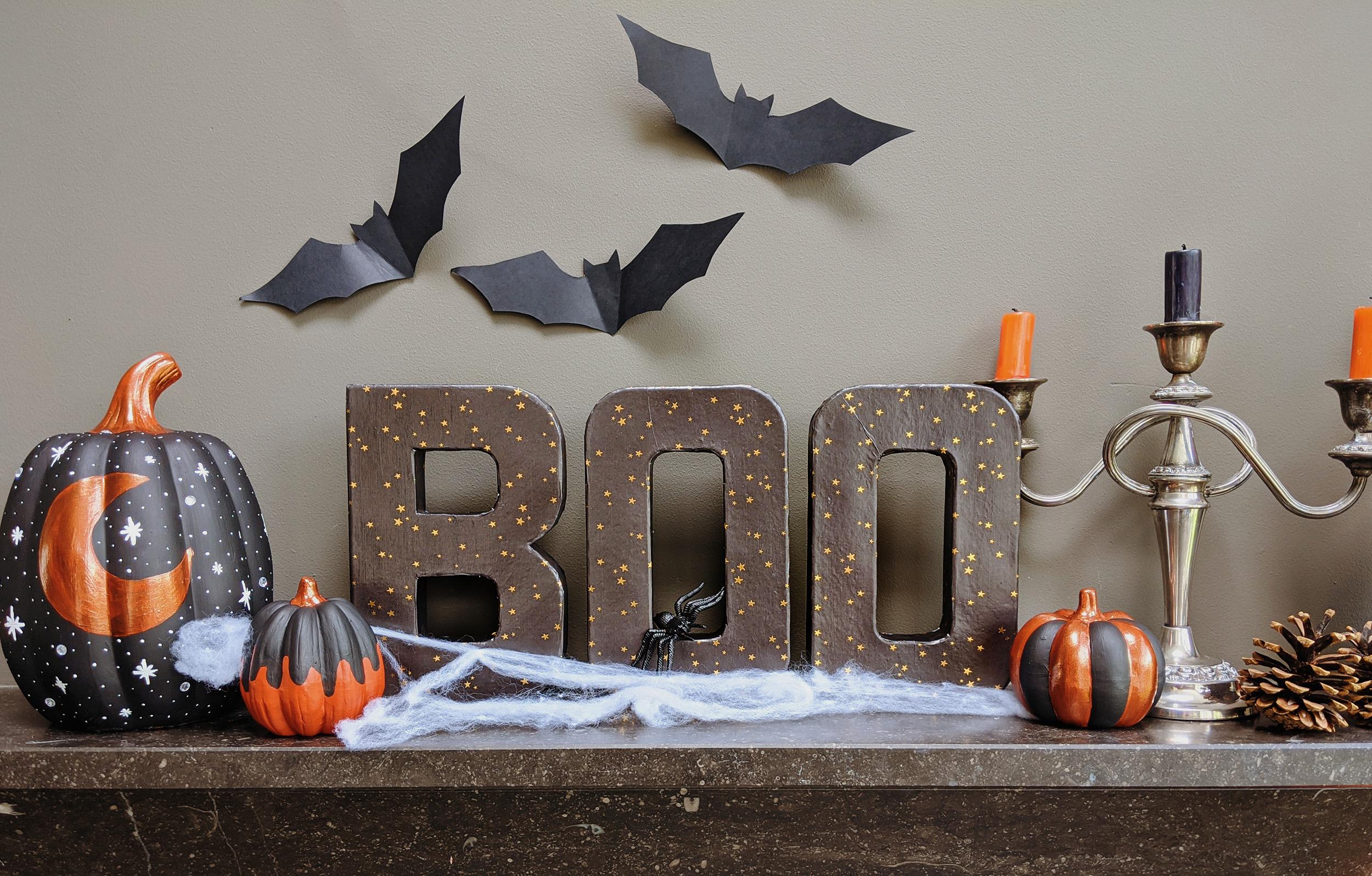 oktoberdots papier-maché letters halloween boo